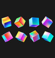 holographic realistic 3d metal cube set neon vector image vector image