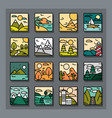landscapes icons collection nature mountains vector image vector image