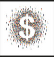 large group people forming us dollar sign flat vector image