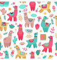 llama pattern drawing animals cartoon llamas vector image vector image
