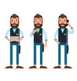 man stands with tablet calls on phone characters vector image vector image