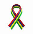 mauritius flag stripe ribbon on white background vector image vector image
