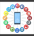 mobile telephone with social network infographic vector image