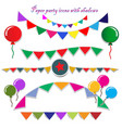 paper party icons with shadows vector image