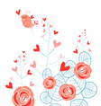 Plants with hearts and love bird vector image vector image
