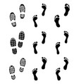 prints human feet and shoes vector image