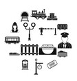 railroad black simple icons set vector image