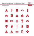 religion and philosphy icons set red vector image