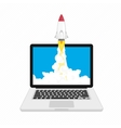 Rocket launching on laptop vector image