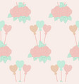 roses and hart balloons in a seamless pattern vector image vector image