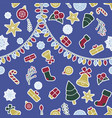 seamless christmas pattern with blue background vector image