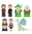 set of magical characters on white vector image