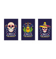 set traditional mexican cards to holiday event vector image vector image