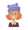 Smiling Young Pretty Red-Haired Girl in Blue Hat vector image vector image