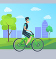 summer day card with cheerful cyclist on bike vector image vector image