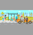 taxi and driver services flat vector image vector image