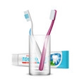 toothbrush in glass dental daily protection vector image vector image