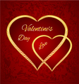 Valentine day two gilded hearts red background vector image