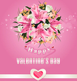 Valentines day background with flower bouquet vector image vector image