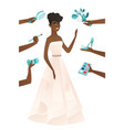 young african bride in a white dress vector image