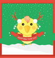 cartoon christmas chicken antler happy new year vector image