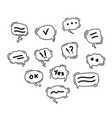black speech bubble line icons hand drawn doodle vector image