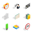 business school icons set isometric style vector image vector image