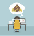 businesswoman dreaming about money vector image vector image