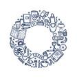 cafe doodle circle frame vector image