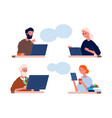 calling to parents man woman talk with old mother vector image