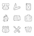 Camp icons set outline style