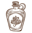 canadian maple syrup in bottle with cork isolated vector image