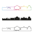 Catania skyline linear style with rainbow vector image vector image