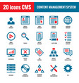 cms - content management system - 20 icons vector image