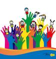 Cute happy cartoon kids on fingers vector image vector image