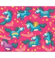 cute seamless pattern with unicorns in pink vector image