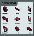 cyber sport color outline isometric icons vector image vector image