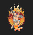 devil slayer tattoo with flame background vector image