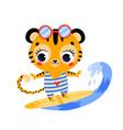 flat doodle cute cartoon summer surfing tiger vector image