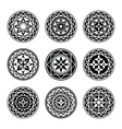 Floral ornament 9 tattoo set Flowers in star vector image vector image