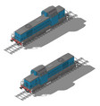 freight diesel locomotive isometric low poly icon vector image vector image