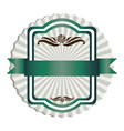 green emblem with ribbon decoration icon vector image vector image