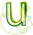 Green letter U vector image vector image