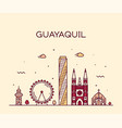 guayaquil skyline ecuador linear style city vector image