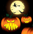 Halloween Pumpkin and Witch Spooky Tree Bats in vector image vector image