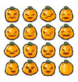 halloween pumpkin lantern scary faces smile emoji vector image vector image