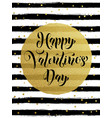 happy valentine day golden glitter greeting card vector image