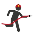 hose firefighter man icon vector image vector image