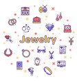 jewelry color linear icons set vector image vector image