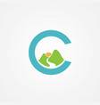 letter c with mountain graphic in flat style vector image vector image